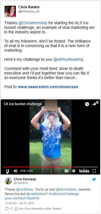 Chris Rankin does the ALS Ice Bucket Challenge her way